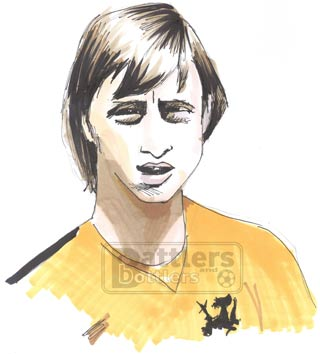 Cartoon illustration showing Johan Cruyff Holland footballer Copyright battlersandbottlers.com