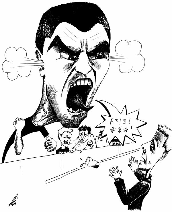 Cartoon illustration showing Roy Keane Ireland footballer Copyright battlersandbottlers.
