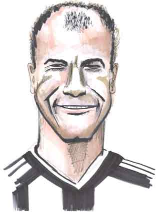 Cartoon illustration showing Alan Shearer England footballer Copyright battlersandbottlers.com