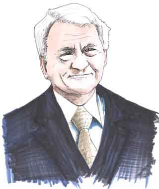 Sir Bobby Robson Cartoon illustration showing Sir Bobby Robson England manager Copyright battlersandbottlers.com