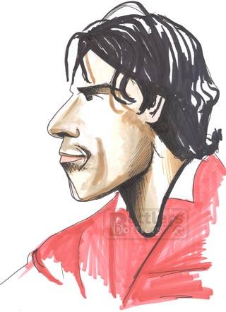 Cartoon illustration showing Ruud van Nistelrooy Holland footballer Copyright battlersandbottlers.com