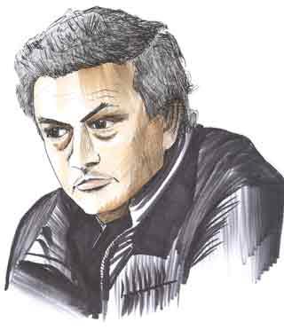 Cartoon illustration showing Jose Mourinho Copyright battlersandbottlers.com