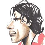 Cartoon illustration showing Ruud Van Nistelrooy Copyright battlersandbottlers.com