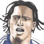 Cartoon illustration showing Didier Drogba Copyright battlersandbottlers.com