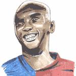 Cartoon illustration showing Samuel Eto'o Copyright battlersandbottlers.com