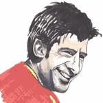 Cartoon illustration showing Luis Figo Copyright battlersandbottlers.com