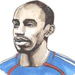 Cartoon illustration showing Thierry Henry Copyright battlersandbottlers.com