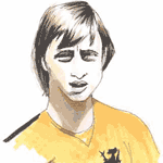 Cartoon illustration showing Johan Cruyff Copyright battlersandbottlers.com