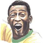 Cartoon illustration showing Pele Copyright battlersandbottlers.com