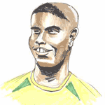 Cartoon illustration showing Ronaldo Copyright battlersandbottlers.com