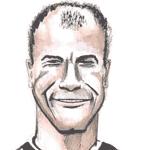 Cartoon illustration showing Alan Shearer Copyright battlersandbottlers.com