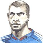 Cartoon illustration showing Zinedine Zidane Copyright battlersandbottlers.com