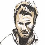 Cartoon illustration showing David Beckham Copyright battlersandbottlers.com